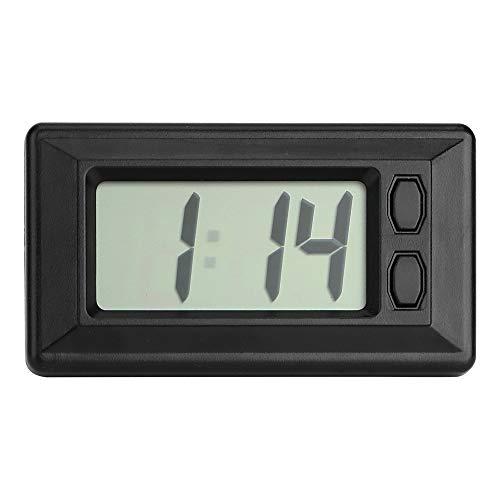 NOPNOG LCD-Digitalanzeige Elektronische Uhr für Auto, Rechteckige Ultradünne Autouhr, Selbstklebend, Schwarz, Auto-Ornamente