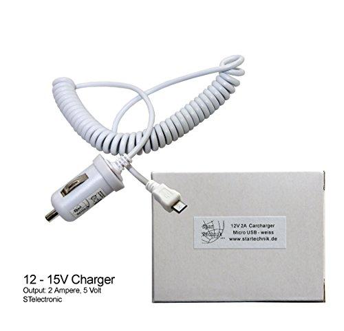 Spartechnik 12V Autolader für Huawei Tablet MediaPad X1 7.0 Media Pad MediaPad 10Link + MediaPad M1 8.0 - Carcharger 12 Volt, 2 Ampere weiß White Weiss