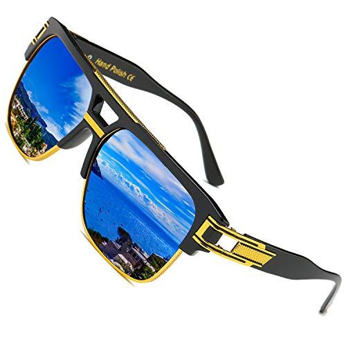 SHEEN KELLY Große Retro Sonnenbrille Square Brille Herren Damen Spiegel Linsen Luxus Eyewear Schwarz Hälfte Rahmen Metall Gold UV400 Oversized Blau