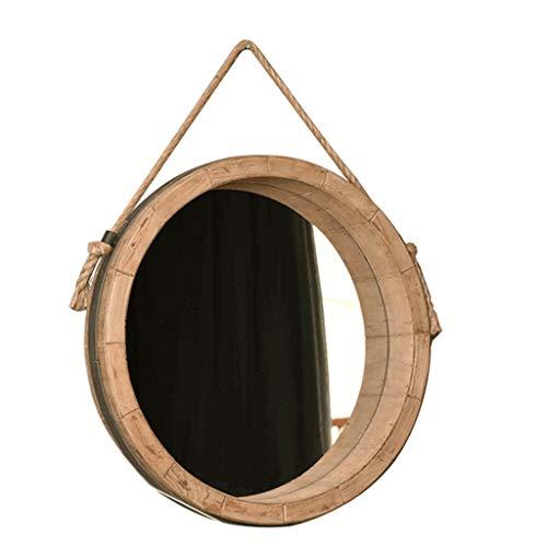 LH-Miroirs Porte-miroir décoratif rond avec suspension | Miroir de salle de bain mural | Miroir de vanité fixé au mur | Miroir de maquillage de cercle | Cadre en bois (taille : Diameter 79cm)