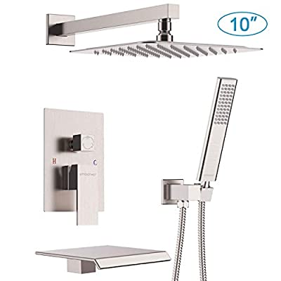 EMBATHER Shower System with Waterfall Tub Spout 10 inch Shower Tub Faucet Set with Rain Showerhead and Handheld,Brushed Nickel(Contain Valve?