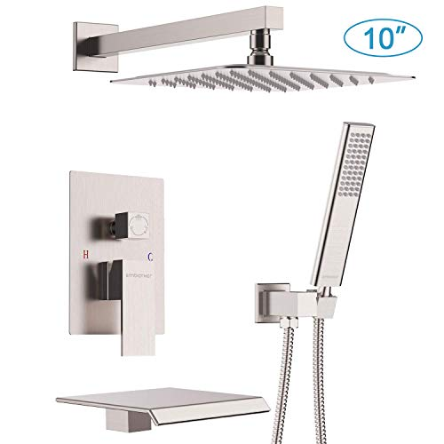 EMBATHER Shower System with Waterfall Tub Spout 10 inch Shower Tub Faucet Set with Rain Showerhead and Handheld,Brushed Nickel(Contain Valve)