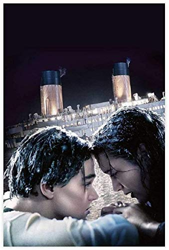 Lienzo Y Arte De Pared PóSter Murales de películas clásicas del Titanic en Regalo para Novio Pintura Pared Y Estampados Cuadros 19.7'x27.6'(50x70cm) Sin Marco