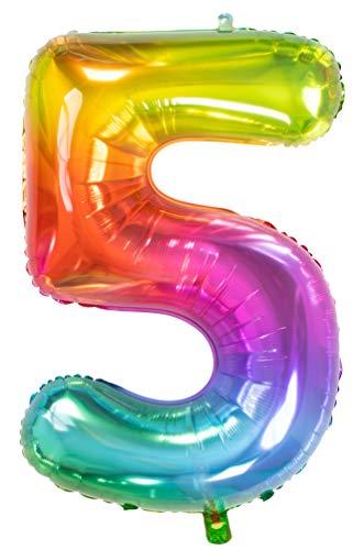 Folat 63245 Folienballon Yummy Gummy Rainbow Ziffer/Zahl 5-86 cm, Mehrfarbig