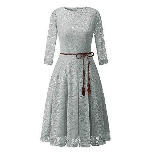 NOBRAND vestido de encaje para citas diarias, con cinturón redondo