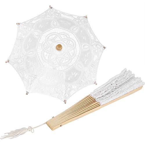 Retro romantische kanten paraplu + kanten handventilator, klassieke bruiloftsparasols met houten handvat, opvouwbare ventilator voor vrouwen in retrostijl, kostuum uit de jaren 20, vintage foto rekwisieten