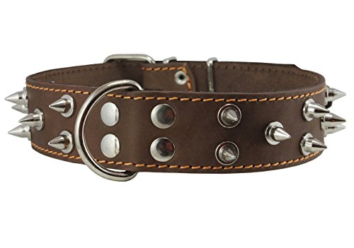 """Dogs My Love Real Leather Brown Spiked Dog Collar Spikes, 1.6"""" Wide. Fits 19""""-23"""" Neck, Large Breeds Mastiff, American Bulldog."""