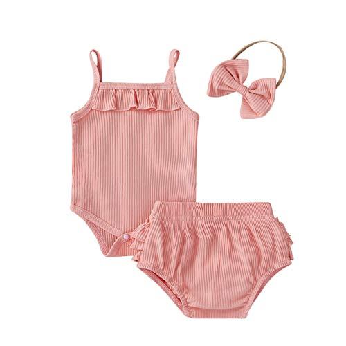 Kobay Komfortabel Kleinkind Baby Girl Solid Ruffle Ärmelloser Strampler Bodysuit + Shorts + Stirnband Outfits