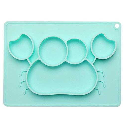 Plato para bebé, juego de mesa Mettime, lavable, antideslizante, con ventosa, placa antideslizante, juego de platillos de silicona y plástico para lavavajillas verde verde