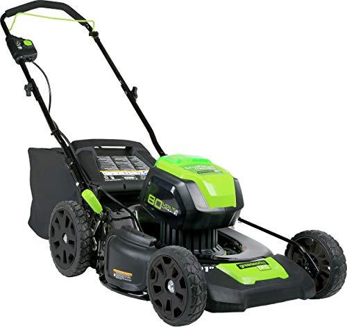 Greenworks Cortacésped con batería, 80 V, tracción de rueda 55 l, función de mantillo, cortacésped