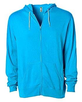 Global Men's or Women's Slim Fit Lightweight Zip Up Hoodie XS Turquoise