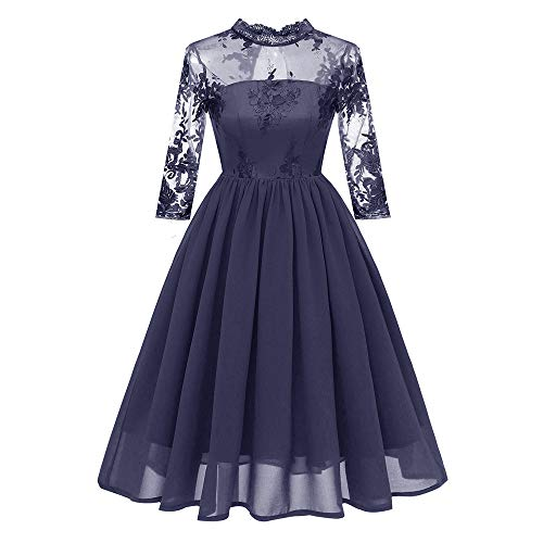 MIRRAY Damen O-Ausschnitt Vintage Prinzessin Blumenspitze Cocktail Party Aline Swing Kleid