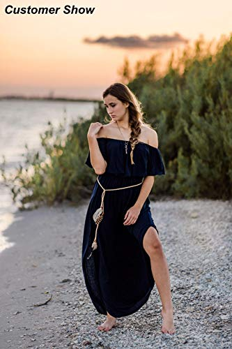 THANTH Off The Shoulder Ruffle Maxi Dress, Navy Blue