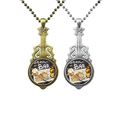 Bierbar Gourmet Brot Frankreich Musik Gitarre Anhänger Schmuck Halskette Anhänger Paar