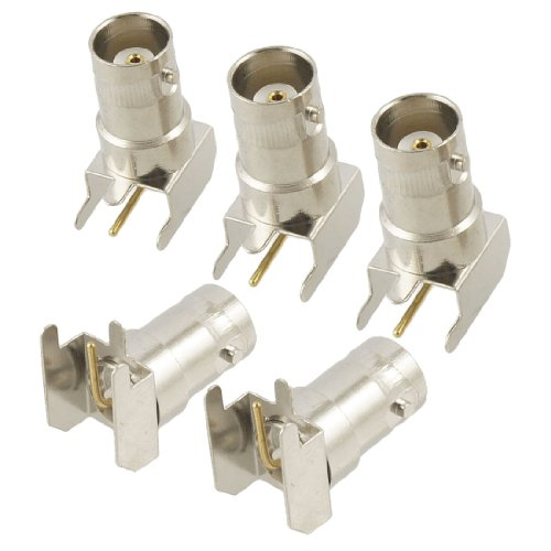 uxcell 5 Pcs BNC Female Right Angle Solder PCB Mount RF Connector Adapter