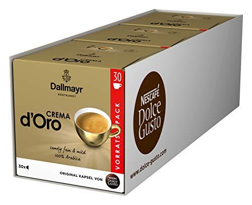 NESCAFÉ Dolce Gusto Dallmayr Crema d´Oro, XXL-Vorratsbox, 90 Kaffeekapseln, 100% Arabica-Bohnen, Feine Crema und vollmundiges Aroma, Aromaversiegelte Kapseln, 3er Pack (3 x 30 Kapseln)