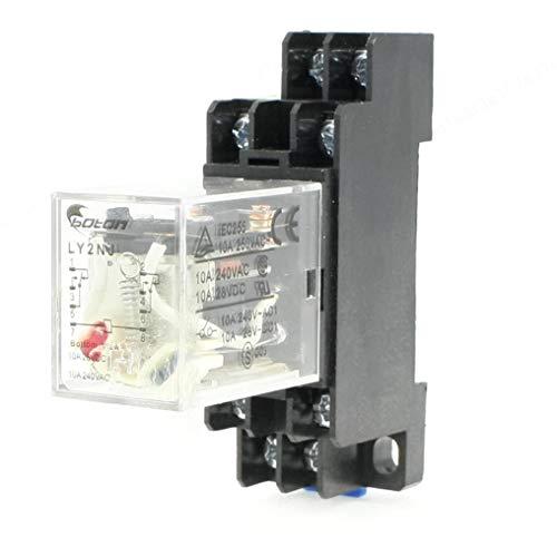 LIUSHUI AC 220V Spule 8 Pin DIN Schiene Elektromagnetisches Leistungsrelais 8 Pin 10A LY2NJ mit Sockel, 1 x Relais mit Sockel