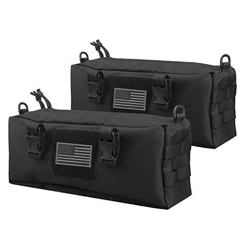AMYIPO Tactical Pouch Multi-Purpose Large Capacity Increment Pouch Short Trips Bag (Black (2 PCS))