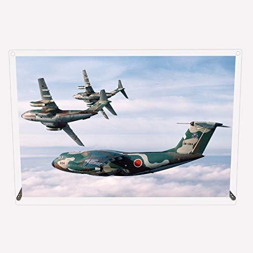CuVery アクリル プレート 写真 航空自衛隊 中型輸送機 C-1 デザイン スタンド 壁掛け 両用 約A3サイズ
