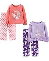 Simple Joys by Carter's Girls' Toddler 4-Piece Fleece Pajama Set, Unicorn/Sheep, 2T