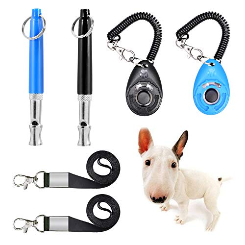 JESOT Dog Training Whistle with Clicker, Adjustable Pitch Ultrasonic Dog Training Kit with Lanyard for Dog Recall Repel Silent Training (4 Pack) (Black+Blue)