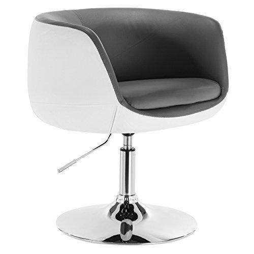 WOLTU® BH42grw-1 1 x Barsessel Loungesessel mit Armlehne Kunstleder 2 farbig Grau+Weiß