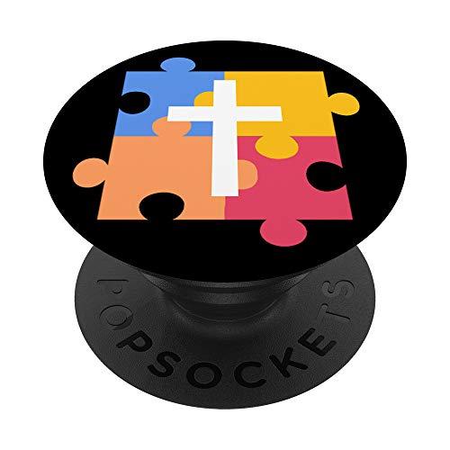 Concienciación sobre el autismo Autismo cristiano católico PopSockets PopGrip: Agarre intercambiable para Teléfonos y Tabletas