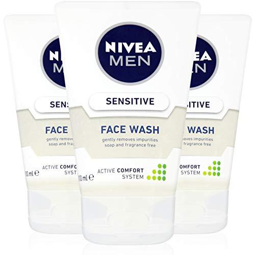Lot de 3 nettoyants visage Nivea Men Sensitive, pour homme, 100 ml