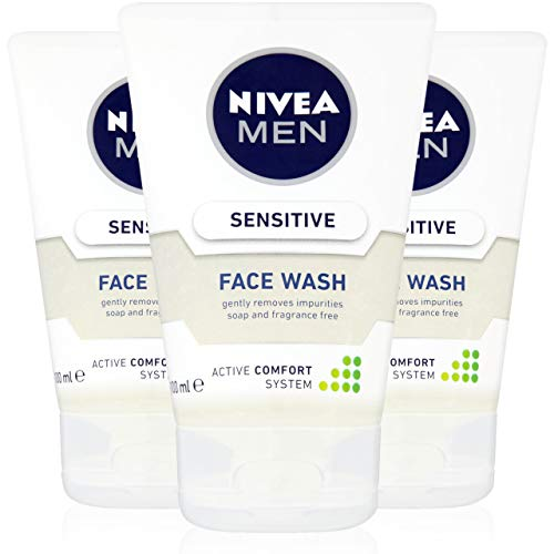 NIVEA MEN Sensitive Face Wash with Zero Percent Alcohol Pack of 3 (3 x 100...