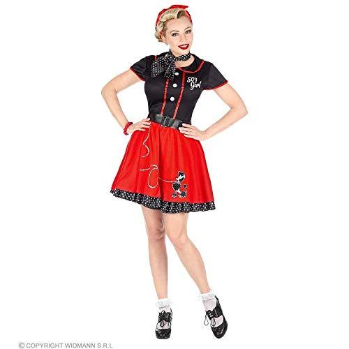 Lively Moments Kostüm 50er Jahre Girl schwarz-rot mit Pudel / Kleid mit Petticoat, Gürtel & Halstuch für Damen / Rockabilly Gr. L = 42 / 44
