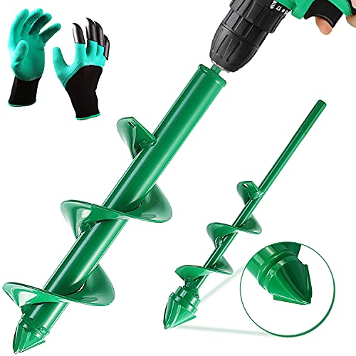Zippy's 11.8'x3.15' and 8.7'x1.57' 2 Pcs Auger Drill Bit for Planting, Garden Auger Spiral Drill Bit & Drill Auger use for Beach Umbrella Drill Auger Post Hole Digger Sand Auger and Bulb Planter Tool