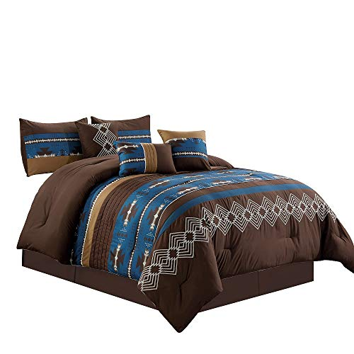 7 Piece Western Southwestern Native American Design Comforter Set Multicolor Coffee Brown Embroidered Size Bed in a Bag Navajo Bedding Set- Makala (Navy Blue, King)