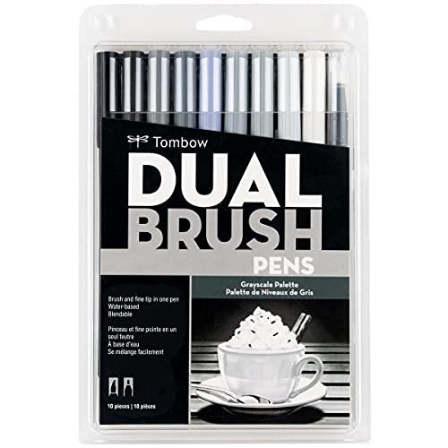 Estojo Dual Brush com 10 Canetas Pincéis, Cores Tons de Cinza