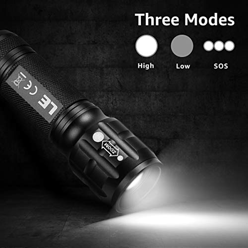 LE LED Torch, Adjustable Focus Tactical Flashlight, Powerful Handheld Torch, Pocket Size, 3 Lighting Modes, Suit for Camping, Cycling, Running, Dog Walking, 3 AAA Batteries Included