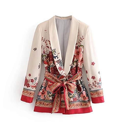 CGWL Frauen Vintage Blumendruck Blazer Fliege Schärpen Langarm Mantel weiblich Retro...