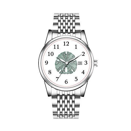 Christmas Watches Men's Fashion Japanese Quartz Date Silver Stainless Steel Bracelet Watch Antique Sea Sand Dollar Illustration Wristwatch