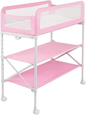 SMX Changing Table Baby Changing Table Adjustable Foldable Diaper Organizer Multi Storage with Wheel Save Space Storage Desk Ideal for Traveling (Color : Pink)