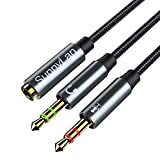 Headset Splitter Cable, 3.5mm TRRS Female to 2 Dual Male TRS Headphone Mic Microphone Audio Y Splitter Adapter for PC Computer and Old Version Laptop(Upgraded Version) (30CM)