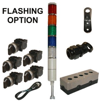 LED Tower Light Station Kit, LED Andon Light Kit KT-5215-101, LED Stacklight Kit, Flashing Capable, 120V, Red/Yellow/Green/Blue/White, 2 Pos Off/Steady OR Off/Flashing