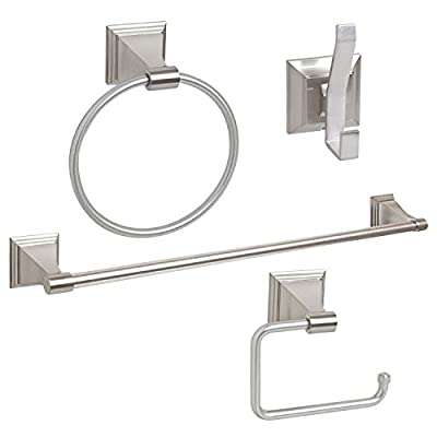 Wholesale Plumbing Supply 4-Piece Bathroom Hardware Accessory Set with 24-in. Towel Bar - Satin/Brushed Nickel