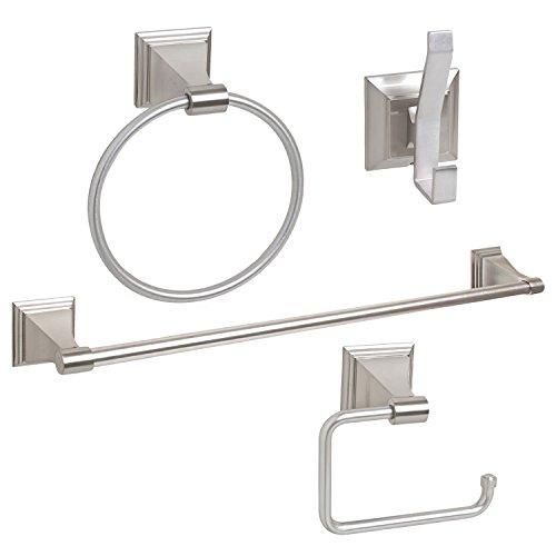 "4-Piece Bathroom Hardware Accessory Set With 24"" Towel Bar - Satin / Brushed Nickel"