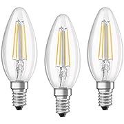 Osram LED Base Classic B Lampe, in Kerzenform mit E14-Sockel, nicht dimmbar, Ersetzt 40 Watt, Filamentstil Klar, Kaltweiß - 4000 Kelvin, 3er-Pack