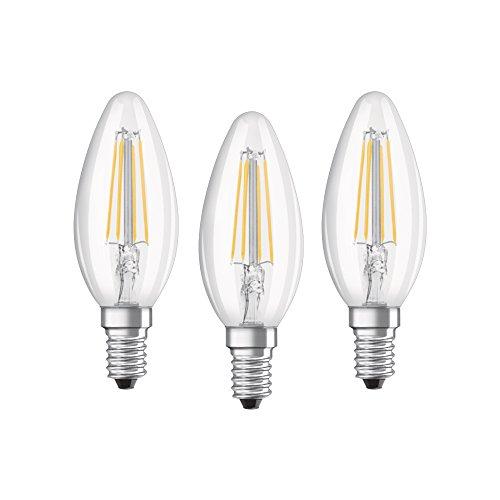 Osram LED Base Classic B Lampe, in Kerzenform mit E14-Sockel, nicht dimmbar, Ersetzt 40 Watt, Filementstil Klar, Warmweiß - 2700 Kelvin, 3er-Pack