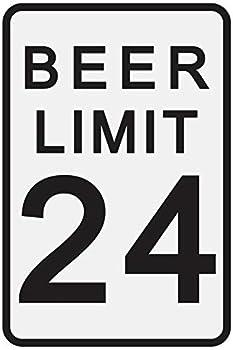 Toothsome Studios Beer Limit 12  x 8  Tin Funny Traffic Sign Man Cave Decor Garage/Bar/Beer Sign Dorm Room Decor