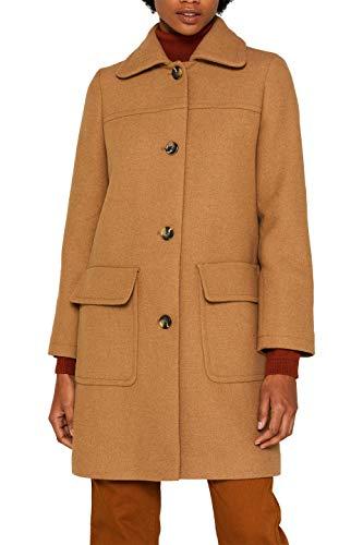 ESPRIT Damen 099EE1G039s Mantel, Braun (Camel 230), Small (Herstellergröße: S)