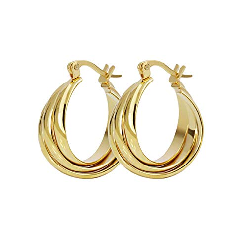 Three Hoops Flat Stainless Steel 14K Yellow Gold Fashion Wide Chunky Hoop Earrings for Women Girls Sensitive Ears Dainty Thick Huggie Hoops Piercing Click Top Hypoallergenic Sensitive Ear Delicate Jewerly Gifts for Birthday Bff