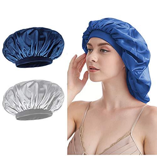Satin Mütze Schlafmütze - 2 Stück Weiche Nachtmütze Kopfhaube mit Elastisches Band Duschhaube für Damen Kinder Schlafen Haarpflege