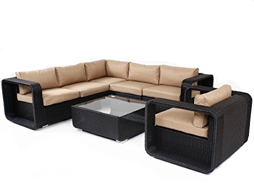 husen Outdoor Stylish Rattan Wicker Sofa Sectional Patio Furniture Set