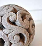 DEKO Kugel Keramik Dekokugel ca. 17cm grau-braun Gartendeko Beetdeko Pflanzdeko Windlicht Shabby rustikal Vintage Ornament Garten Tischdeko Frühling Sommer - 3
