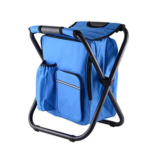 YBWEN Silla plegable portátil con bolsa de aislamiento de hielo para viajes, camping, senderismo, barbacoa, multifunción, plegable, para exteriores, color azul, tamaño: tamaño libre